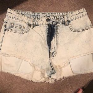 BDG high rise acid wash shorts